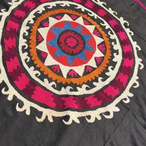 black suzani fabric