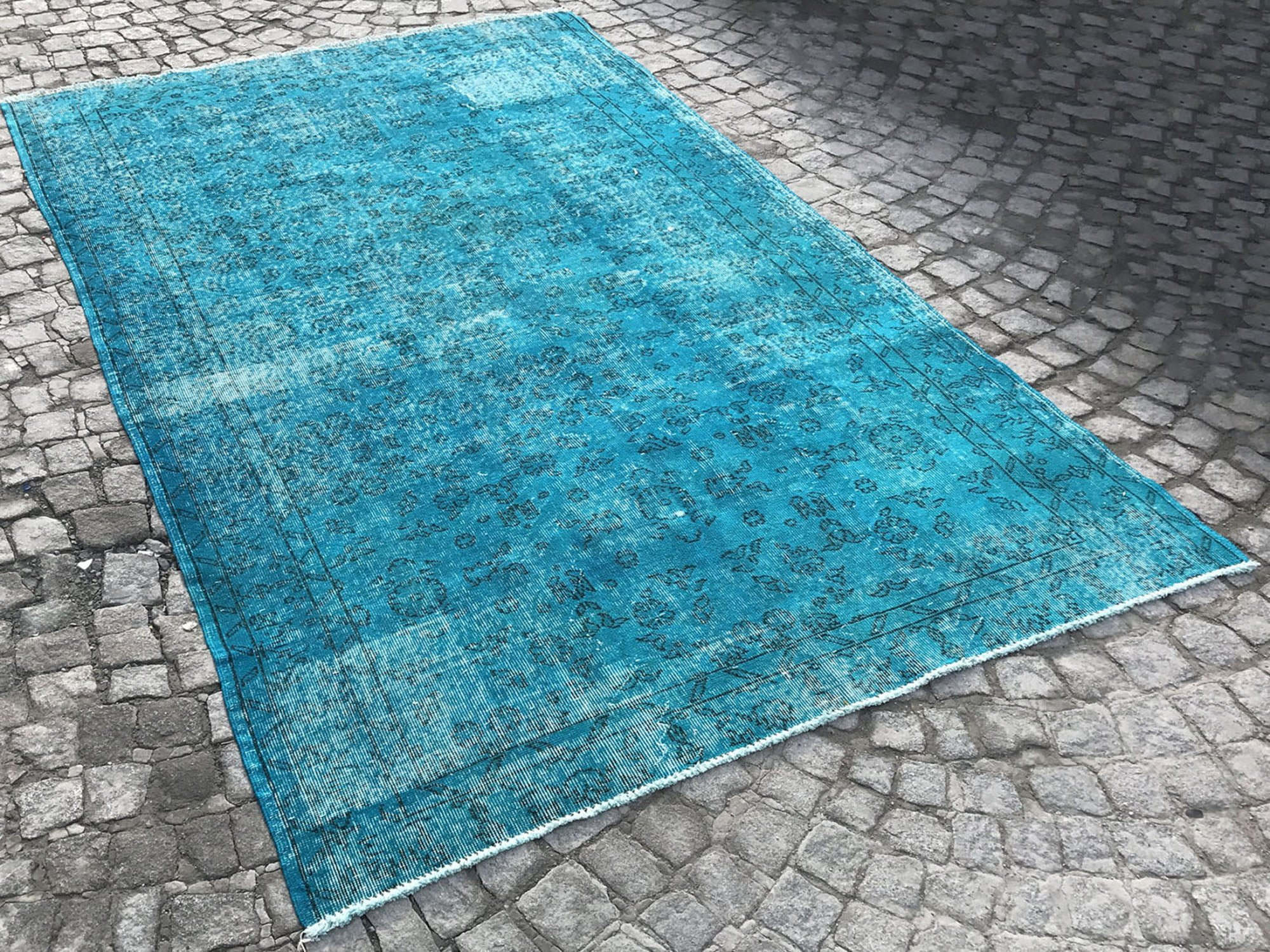 Turquoise Turkish Rug Overdyed Rug Istanbul Carpet