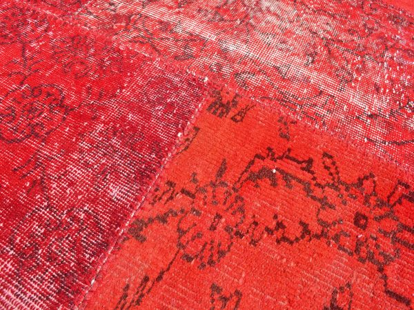 red patchwork rug