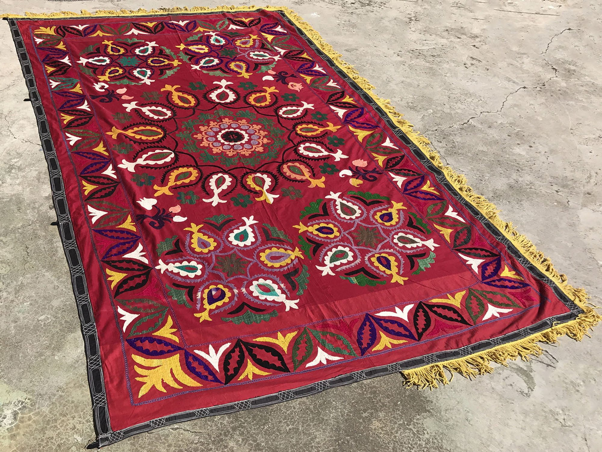Boho Suzani Wall Hanging Antique Wall Decor 2x13 Feet LONG Suzani Fabric With Special Tassel Vintage Suzani Table Runner OLD Suzanis